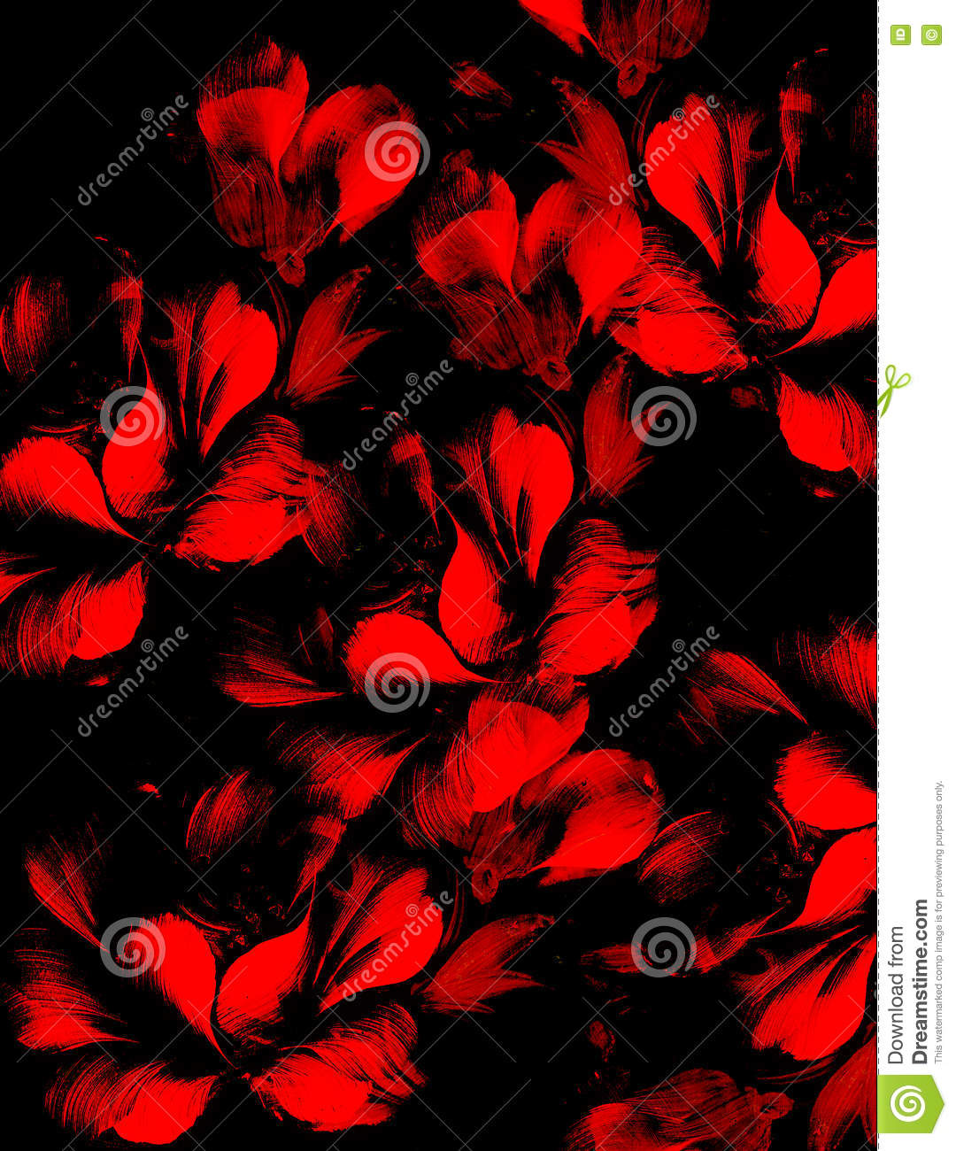 Red Flower On Black Background Painting And Computer Collage Stock Illustration Illustration Of Floral Light 73823583