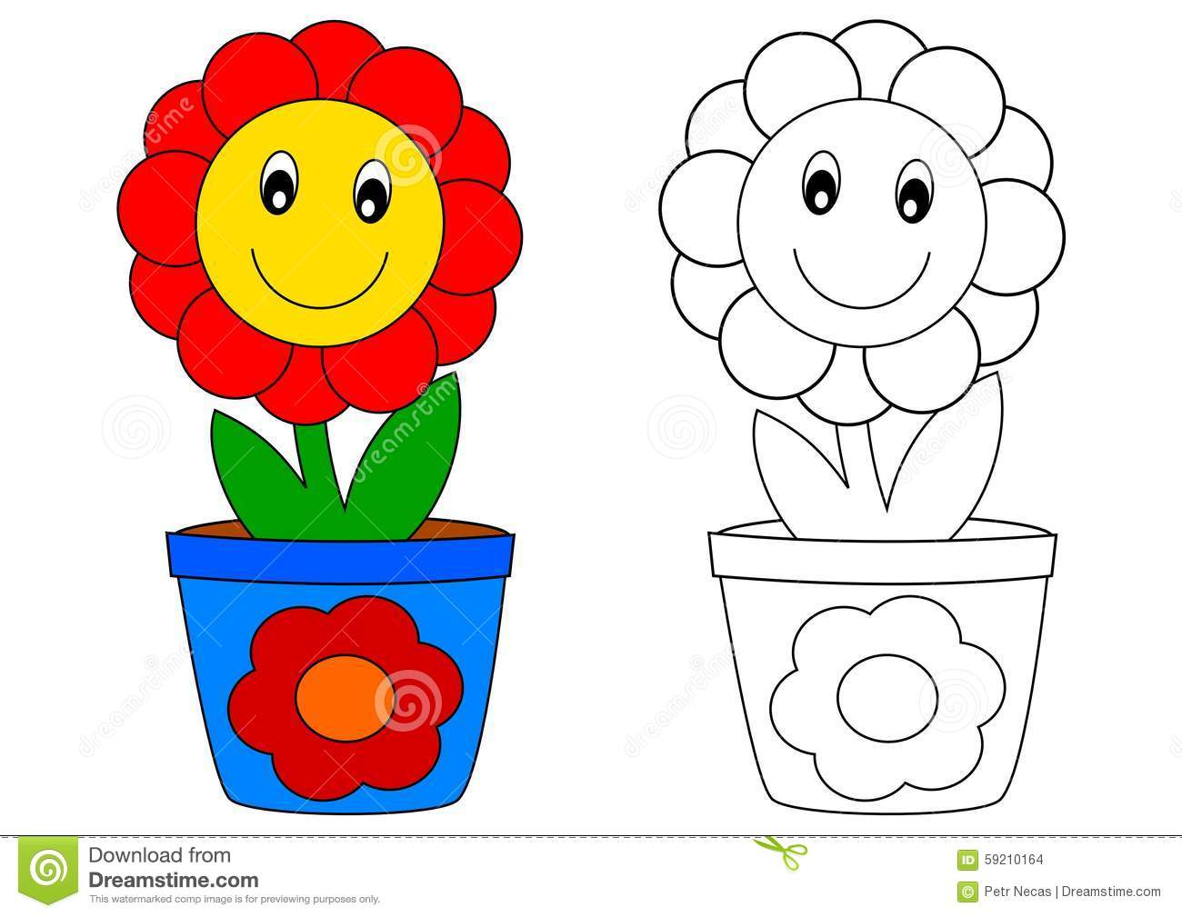 Red Flower In Blue Pot Coloring Book Stock Illustration
