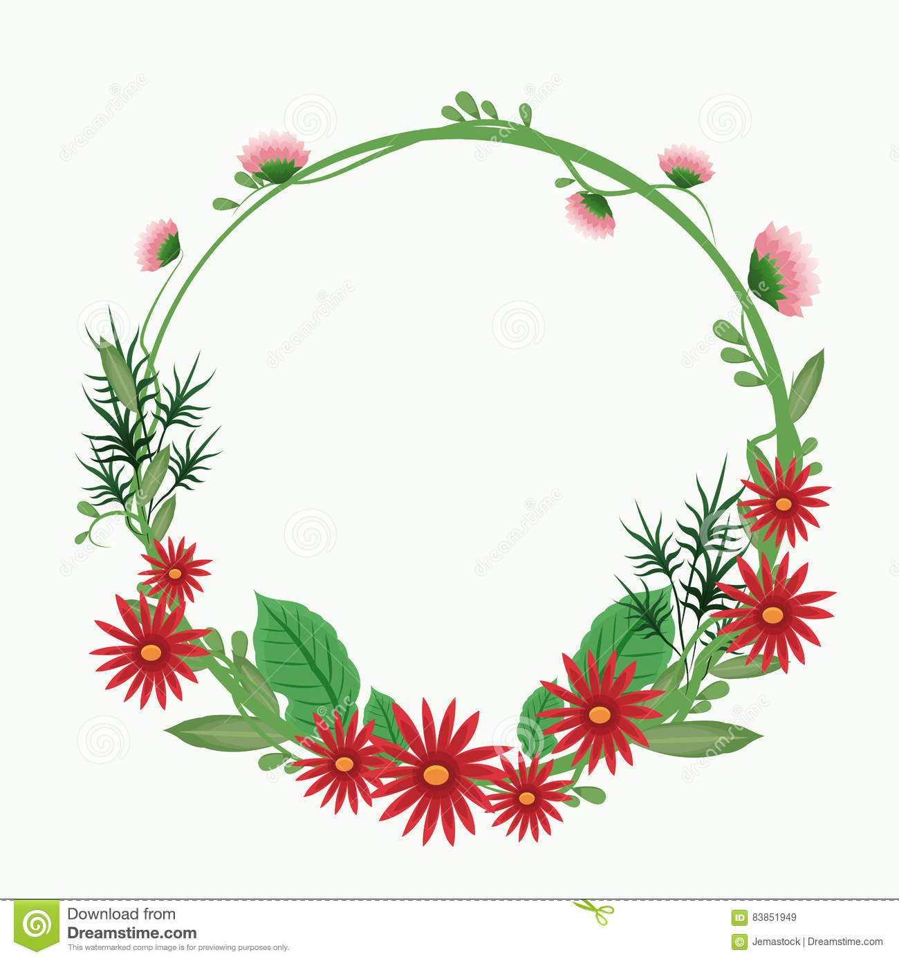 Red Flower Crown Leaf Delicate Ornament Stock Vector Illustration