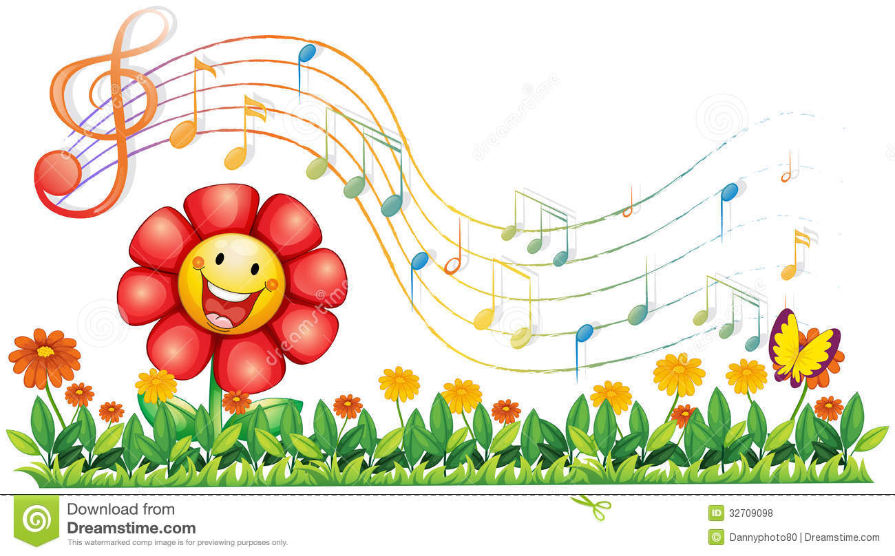 Free Music Background Clipart Download Free Clip Art: A Red Flower In The Garden With Musical Notes Stock Vector