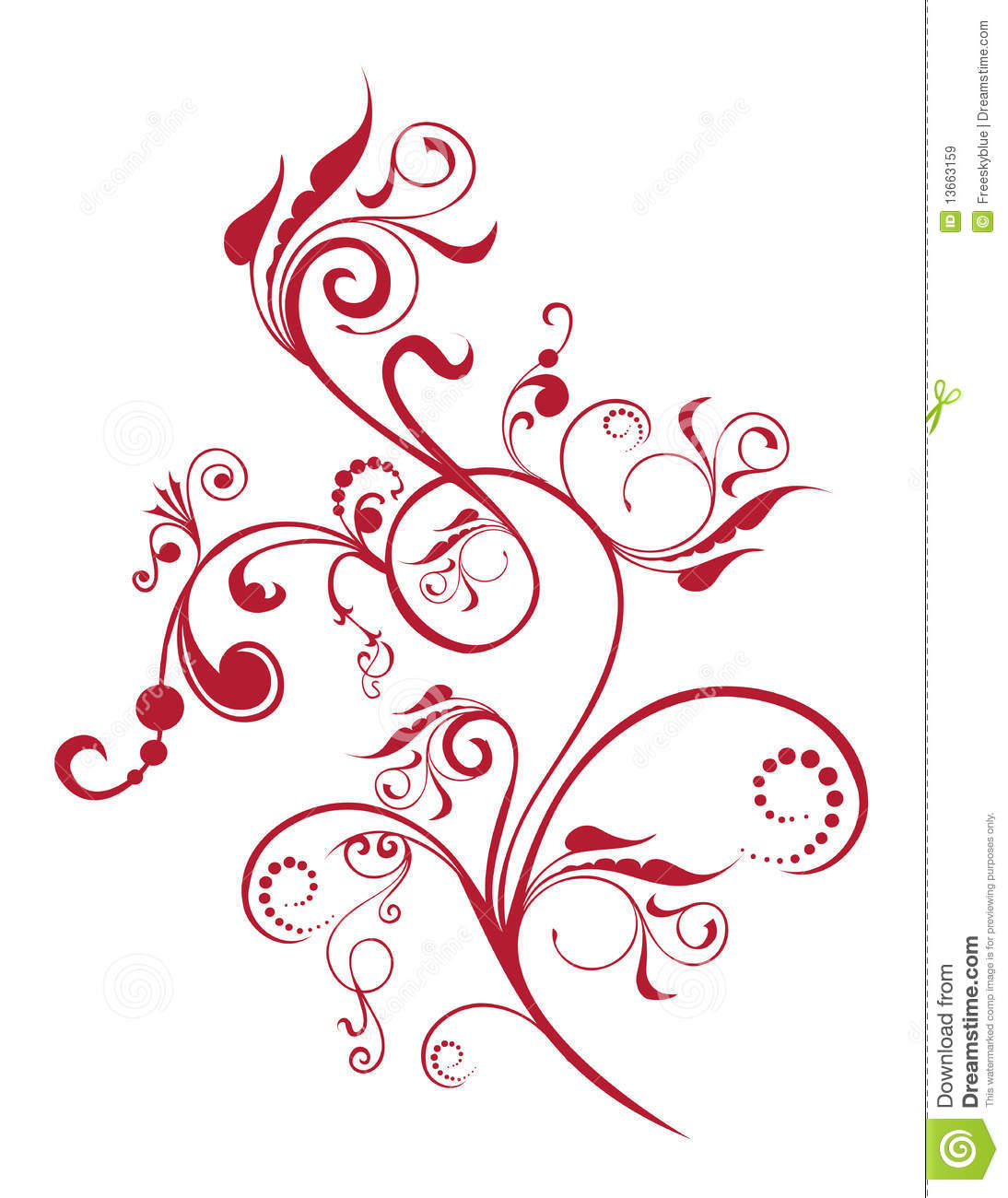 Red Flower And Vines Pattern Royalty Free Stock Images - Image ...