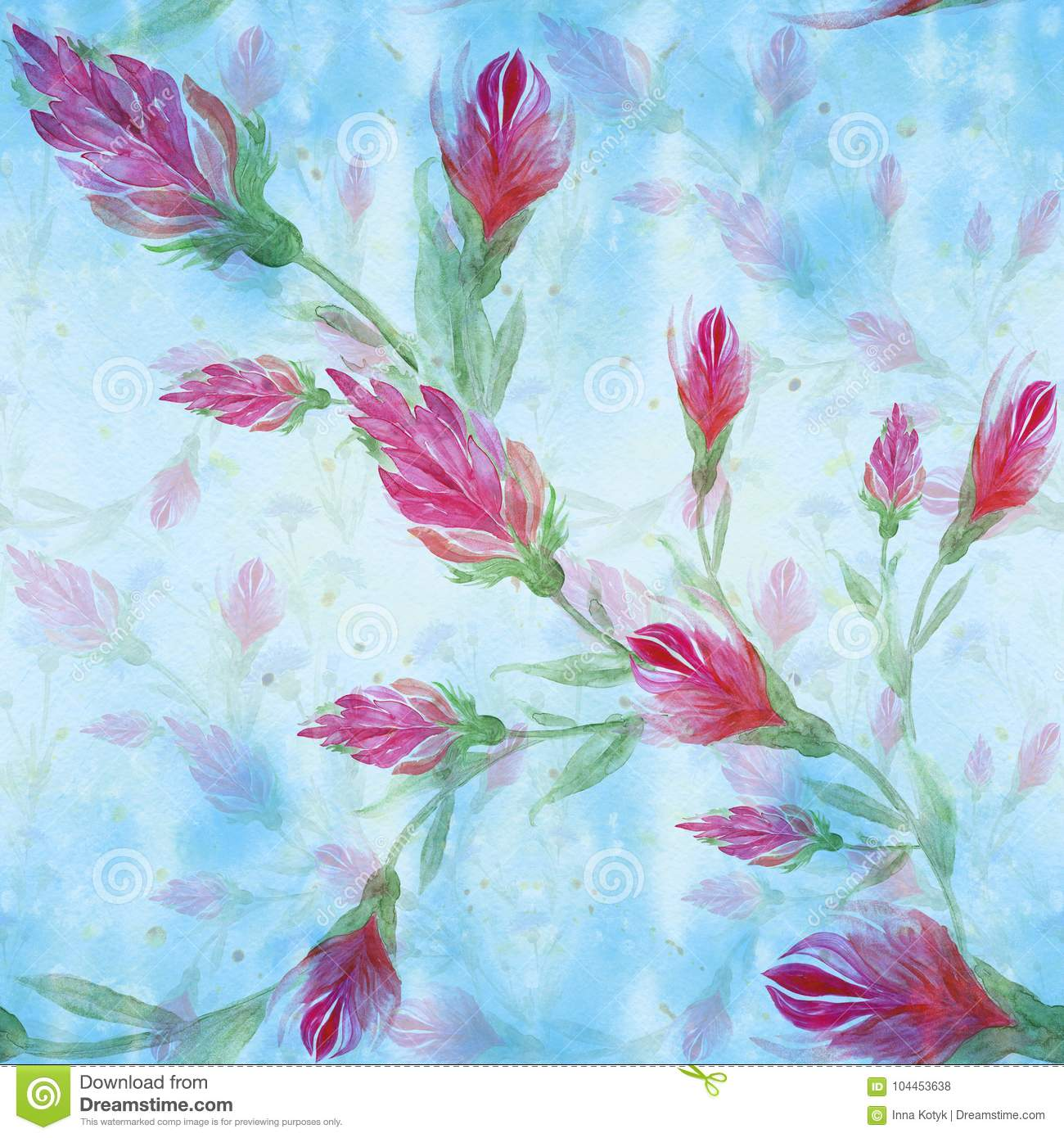 Red Flowers On The Background Of Watercolor Painting Wallpaper Seamless Pattern