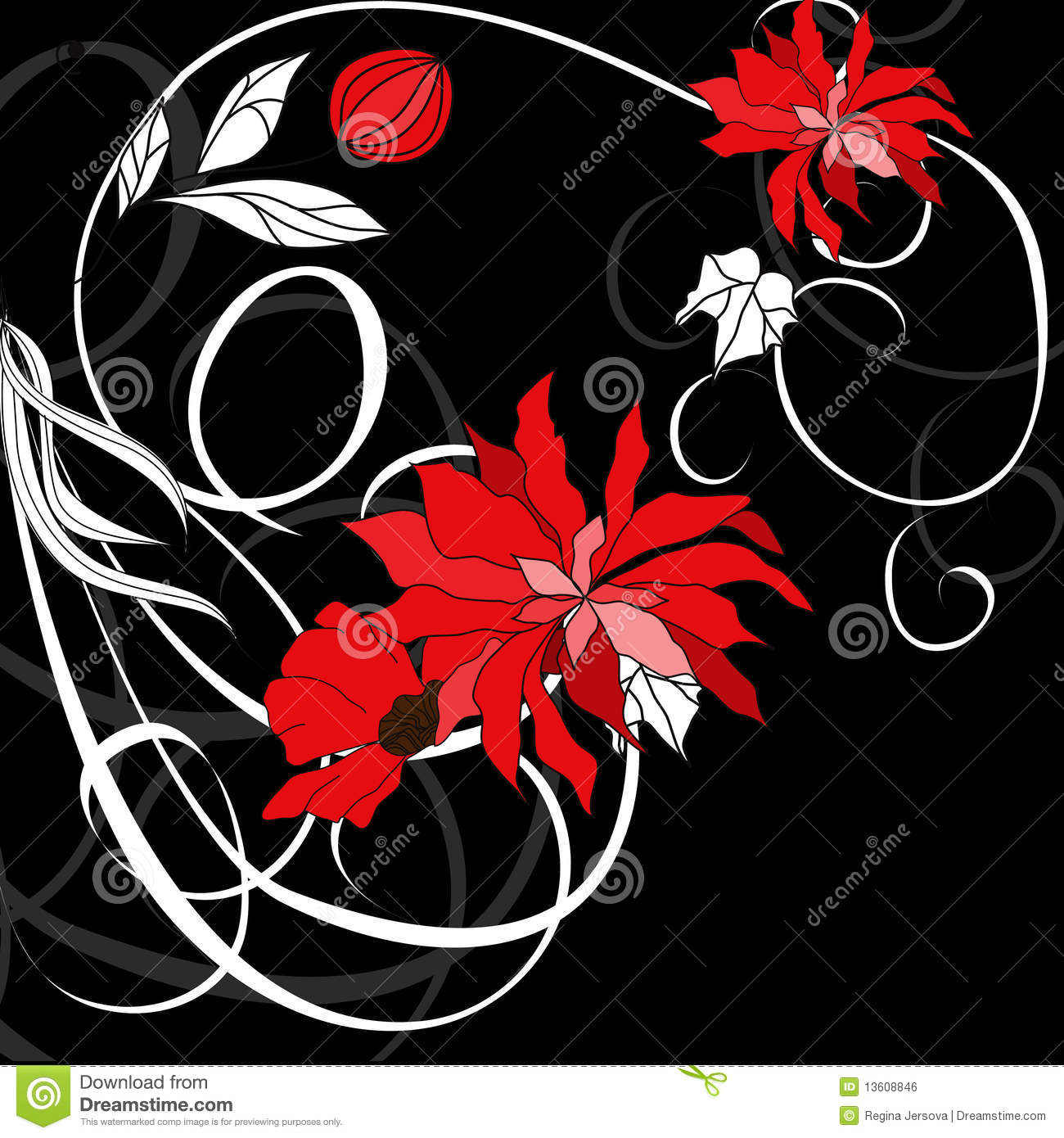 Red Flowers On Black Background Stock Vector ...