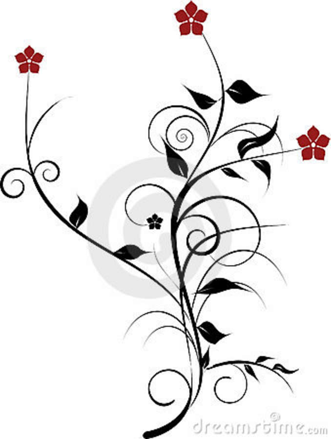 Red Flowers Decoration Stock Vector Illustration Of Graphic