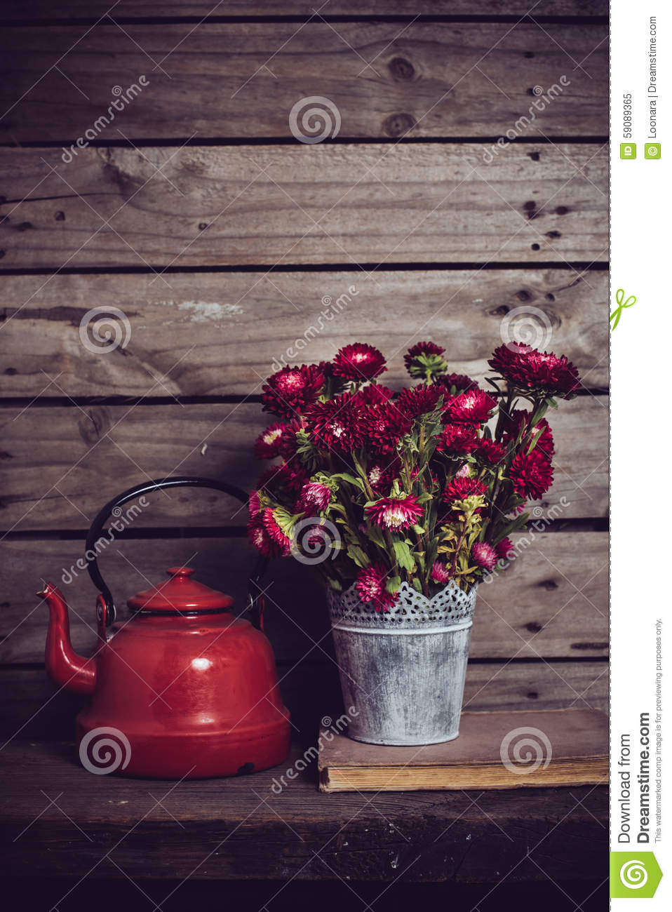 Red Flowers And Enamel Kettle Stock Image - Image: 59089365