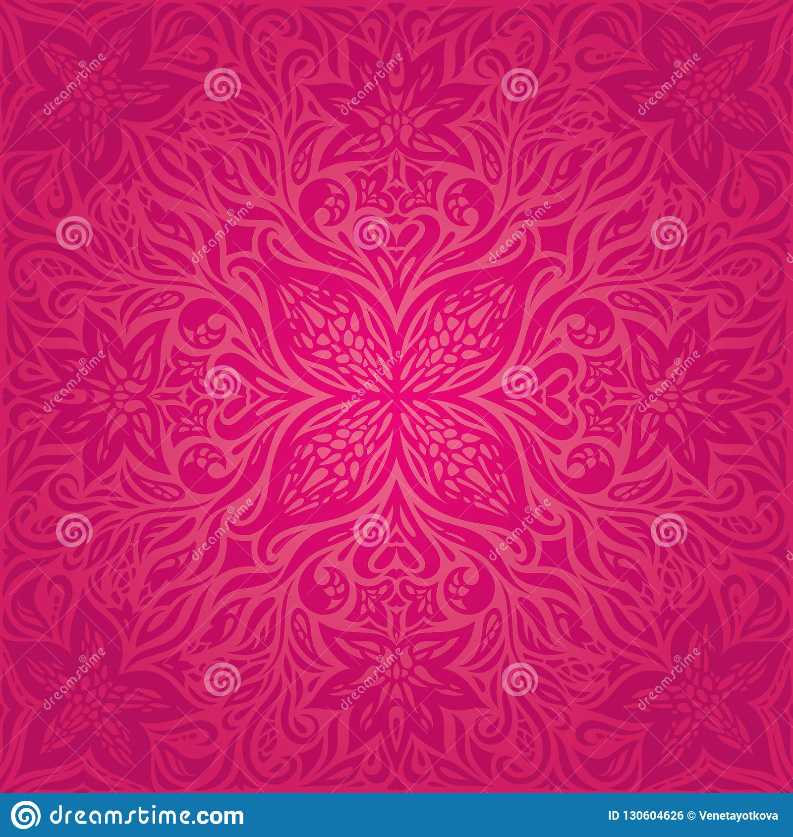 Red Flowers, Gorgeous decorative Floral fashion background mandala design