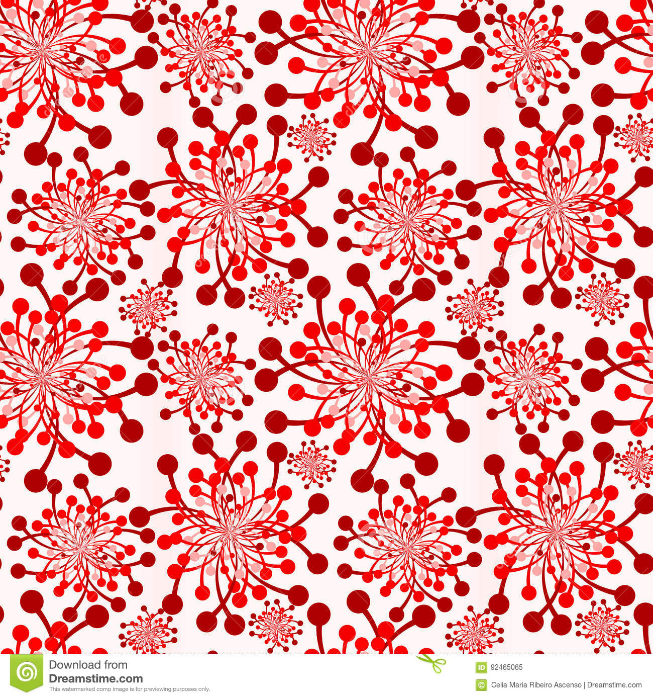 Red Flowers Vintage Wallpaper Seamless Texture