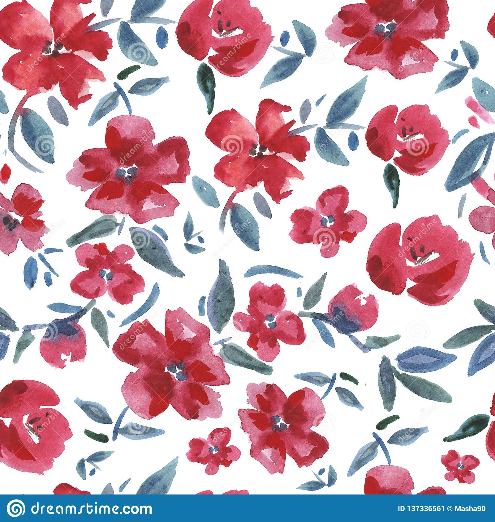 Red flowers. Watercolor seamless pattern.