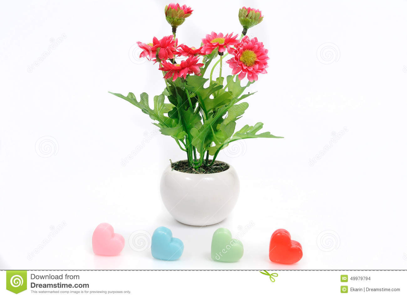 Red Flowers In White Flower Pot With Heart Artificially Stock Photo