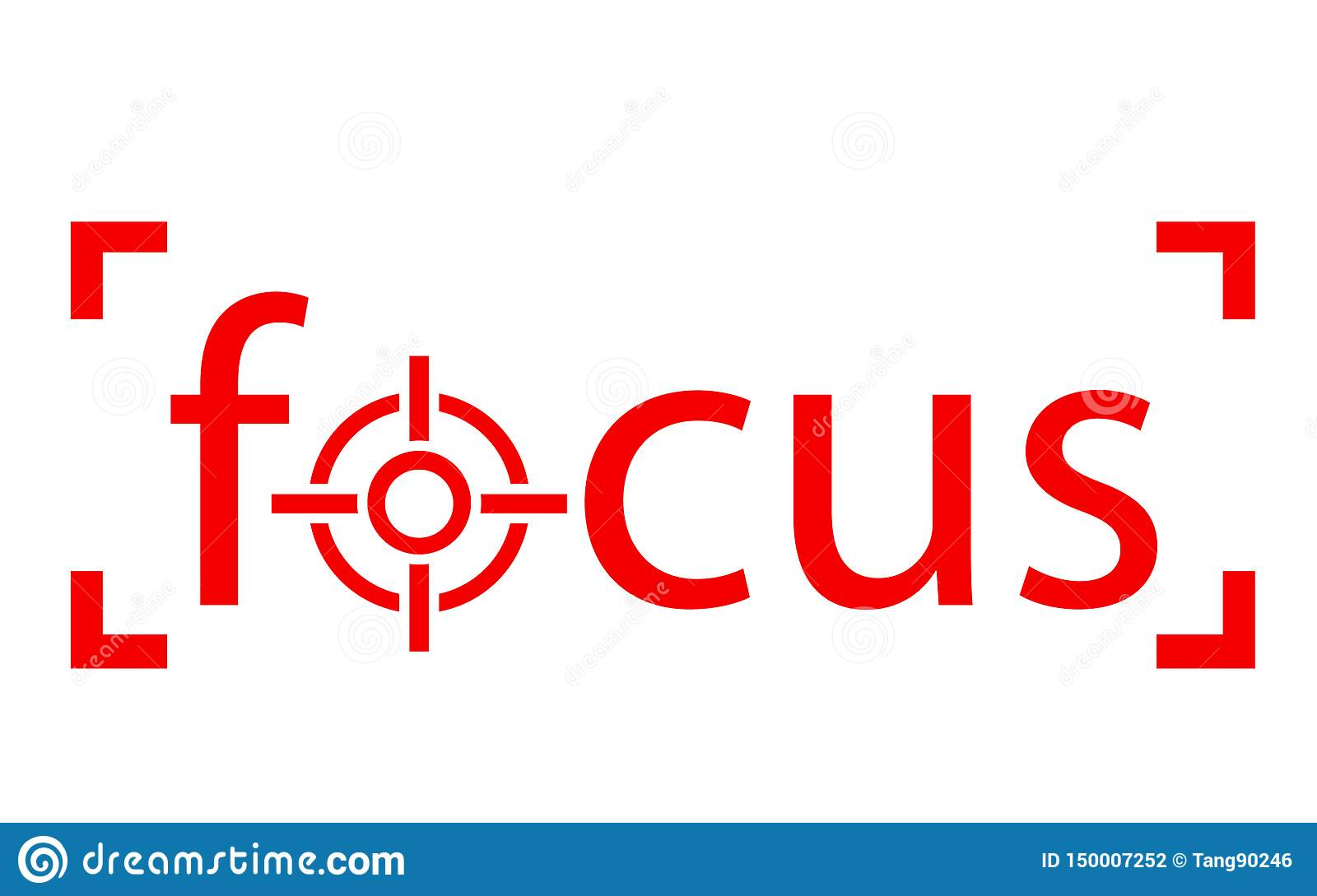 red focus word with scope icon stock illustration