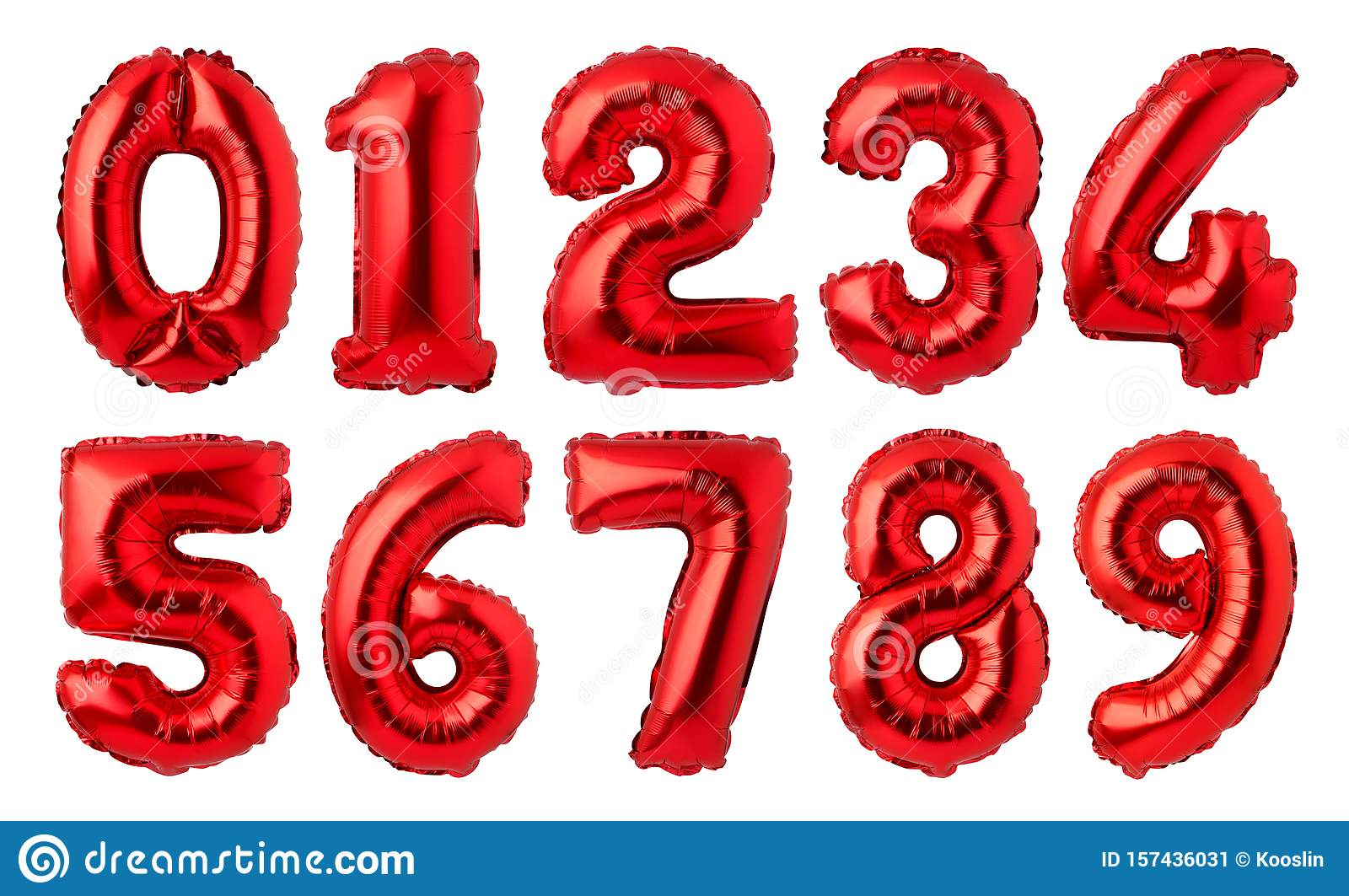 Red Foil Numbers Balloons Stock Illustration  Illustration