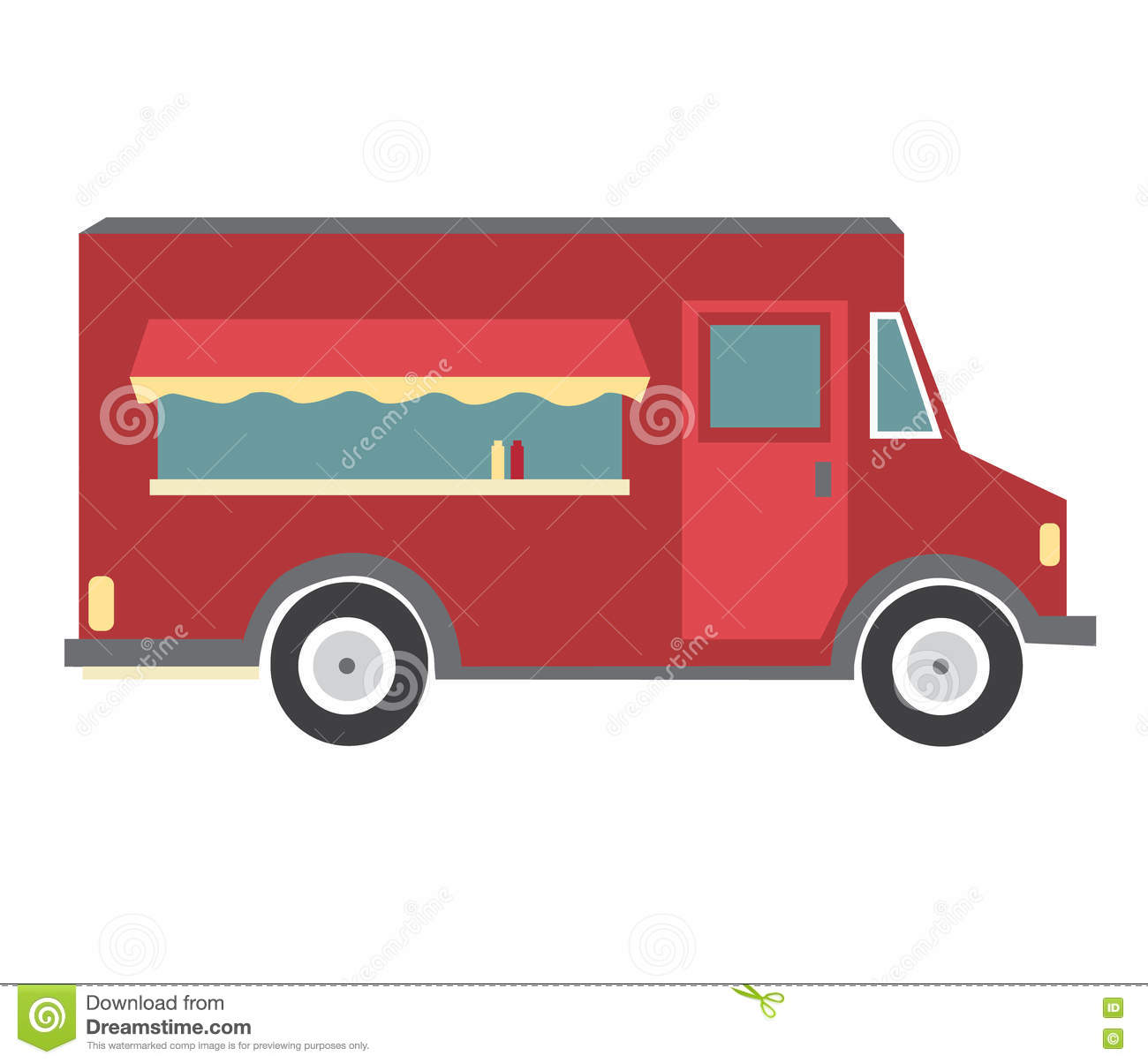 Red Food Truck Stock Illustration Of Cartoon
