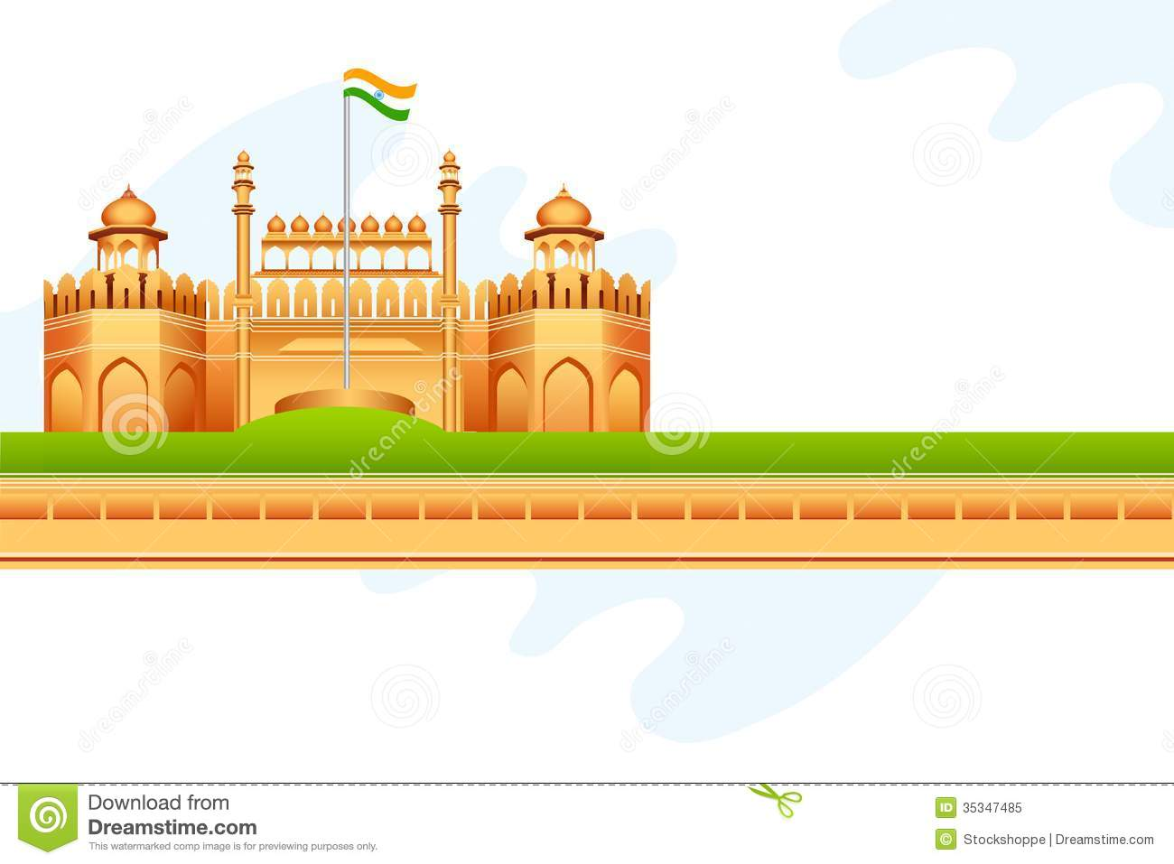 Red Fort In India Stock Vector Illustration Of Landmark
