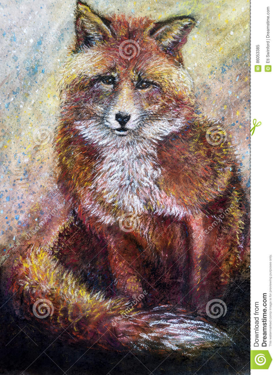 Red fox art drawing