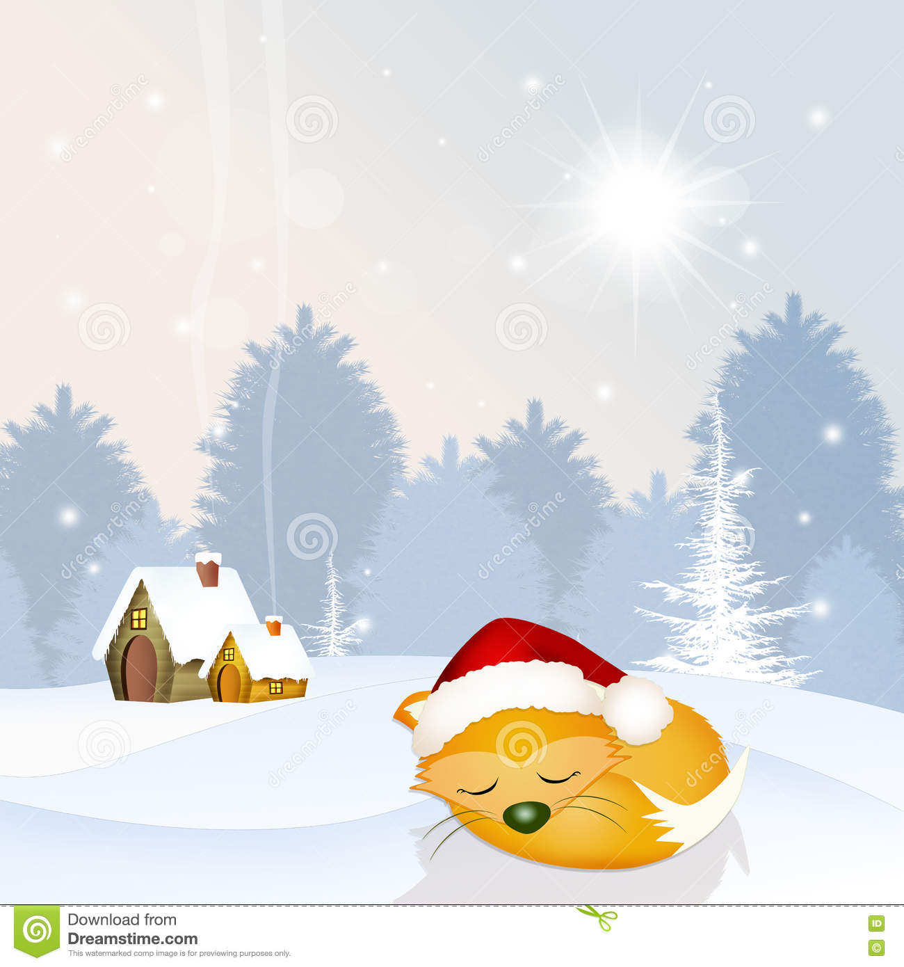 Fox with a hat new year or christmas animal isolated on white - Red Fox With Christmas Hat Stock Illustration