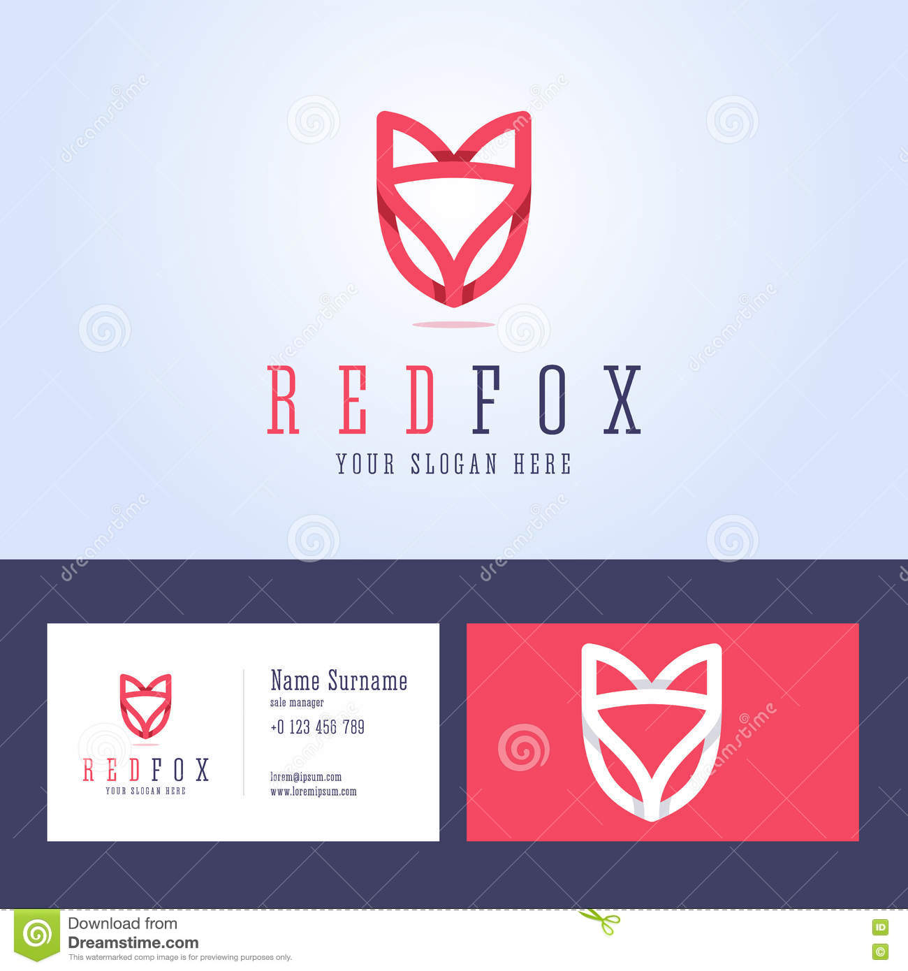 Red Fox Logo And Business Card Template. Stock Vector - Illustration ...