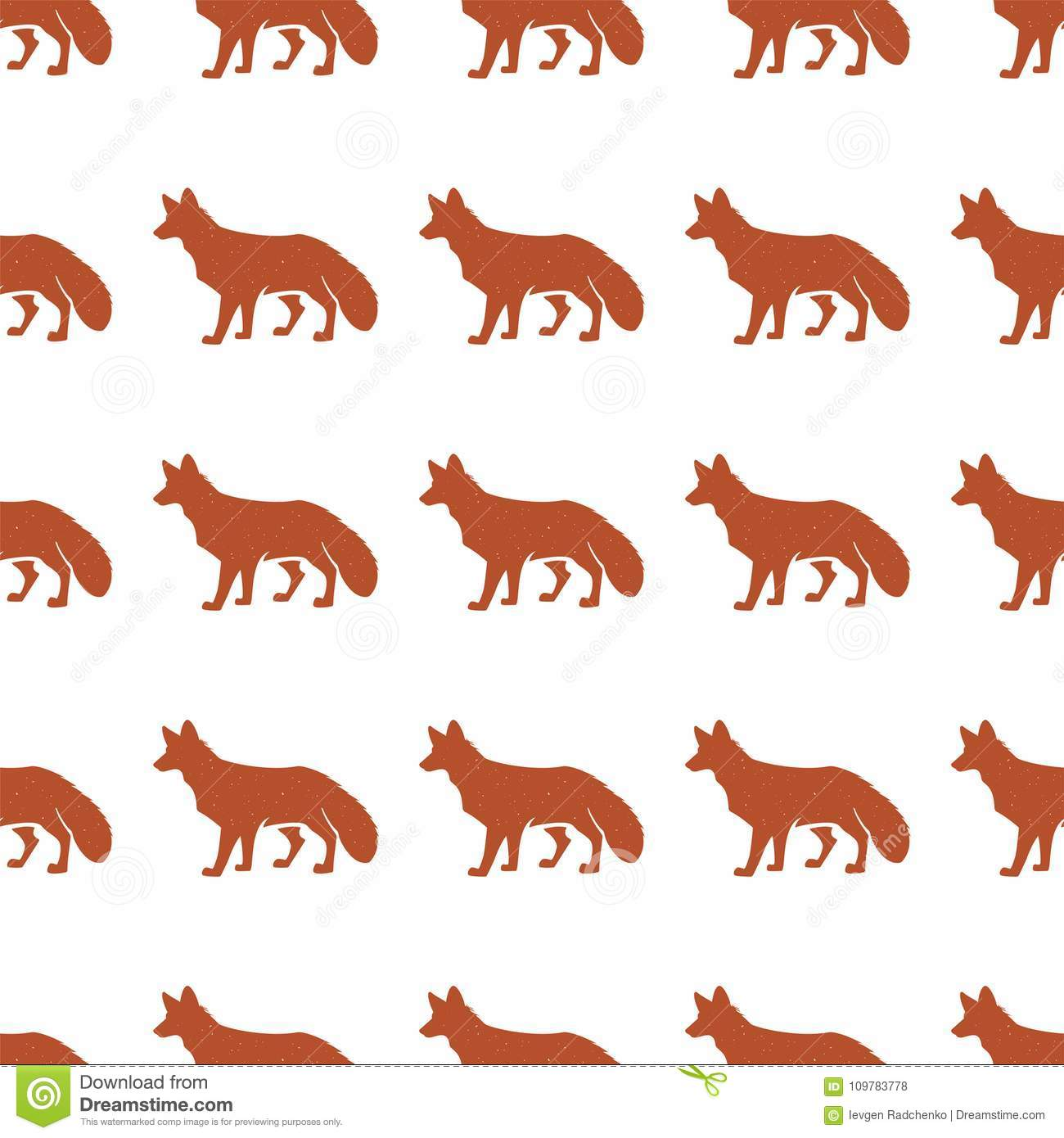 Red Fox Pattern Seamless Background Illustration With Wild Animal