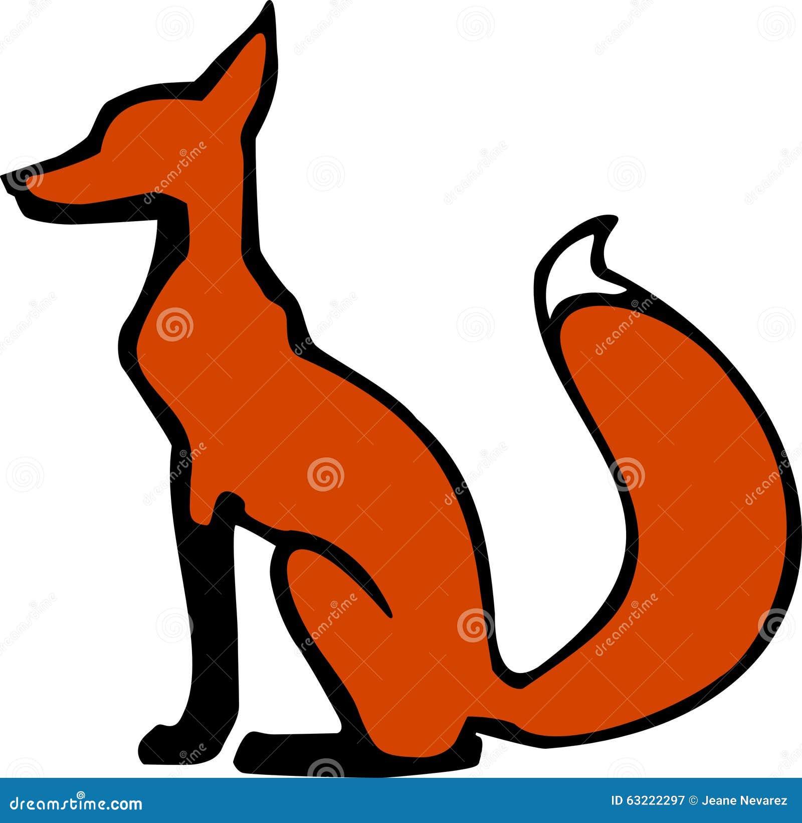 Sitting fox illustration - photo#21