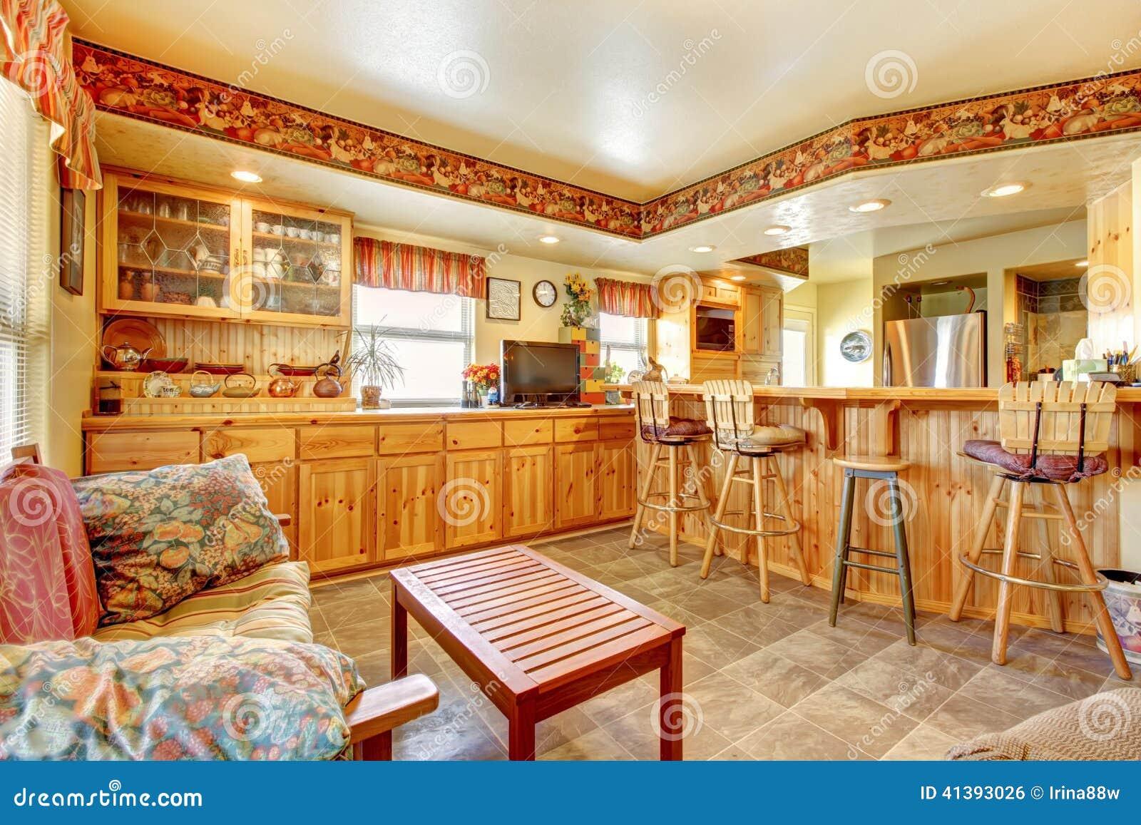 Red för hus för stolsdörringång inre modern öppet plan för golv ...