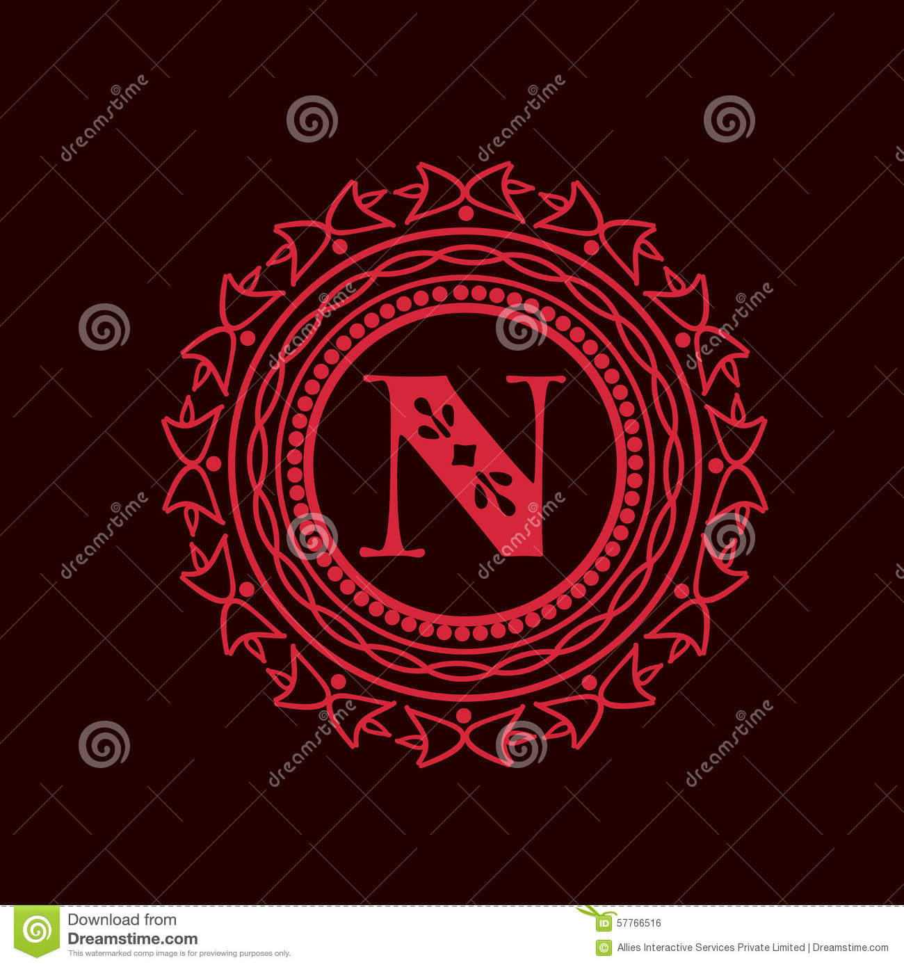 Red Frame With Letter N For Monogram. Stock Illustration ...