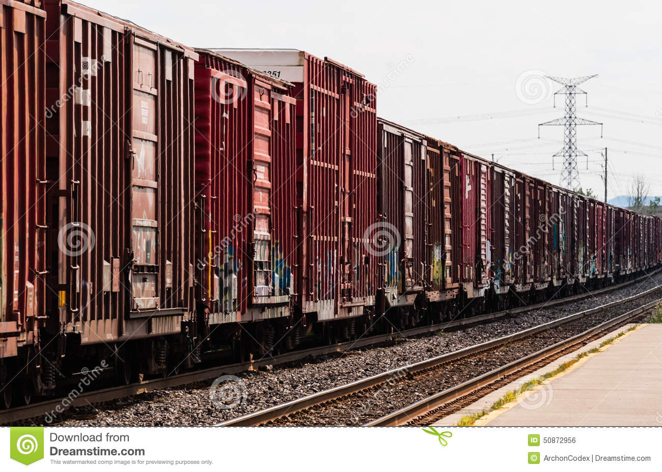 Red Freight Train Box Cars In Perspective Stock Photo Image Of