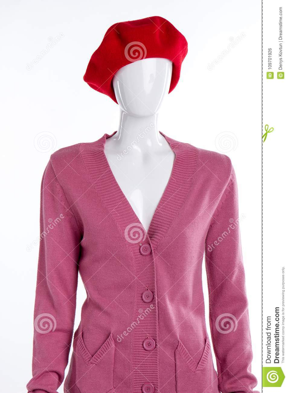c85a114374740 Red French Beret And Cardigan. Stock Photo - Image of dummy, autumn ...