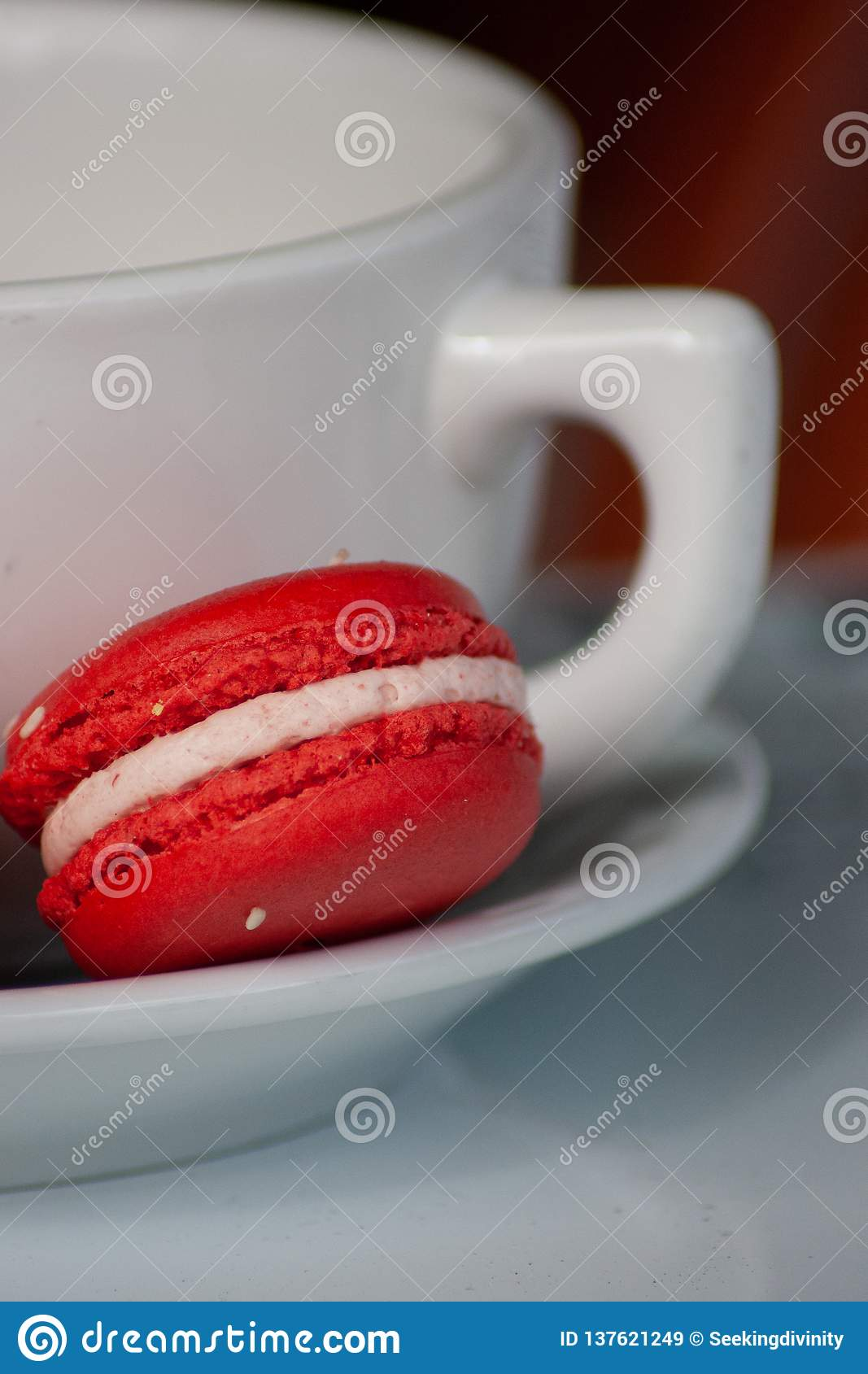 Red Macaron Cookie with White Coffee Mug