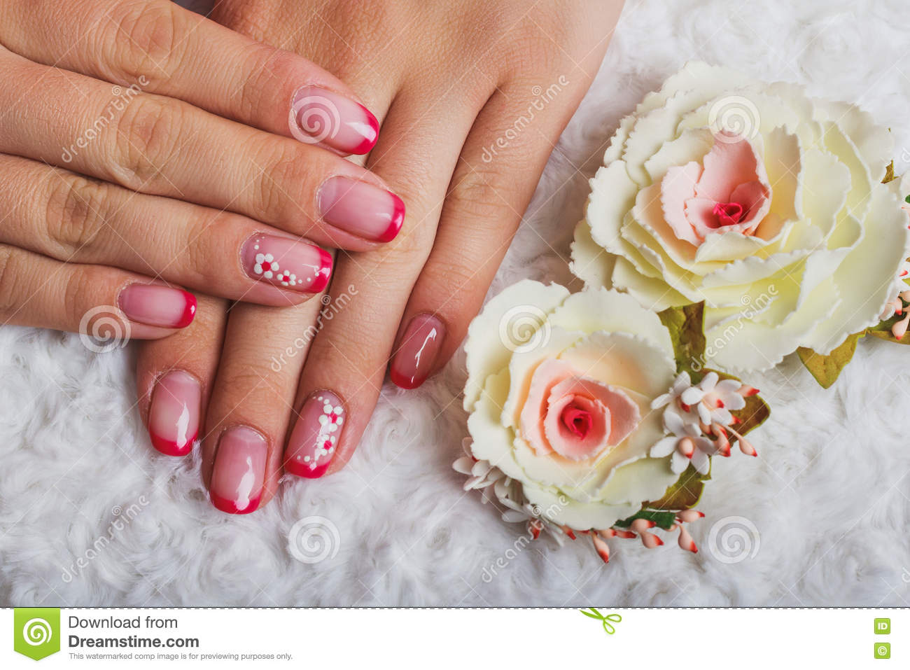 Red French Nail Art With Flower Stock Image Image Of Finger