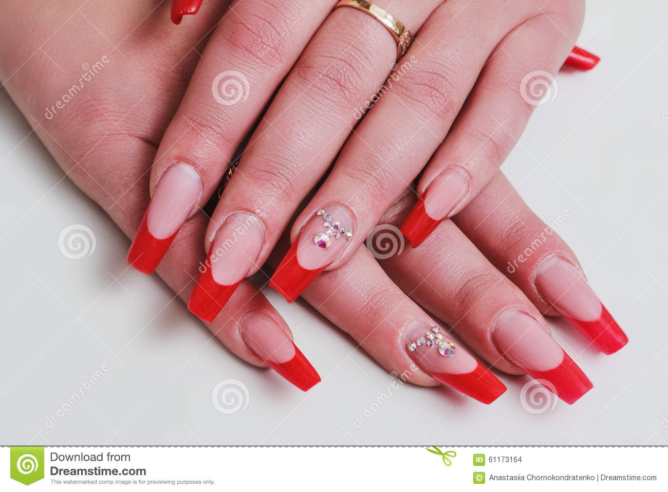 Red French Nail Art With Rhinestones Stock Photo - Image of beauty ...