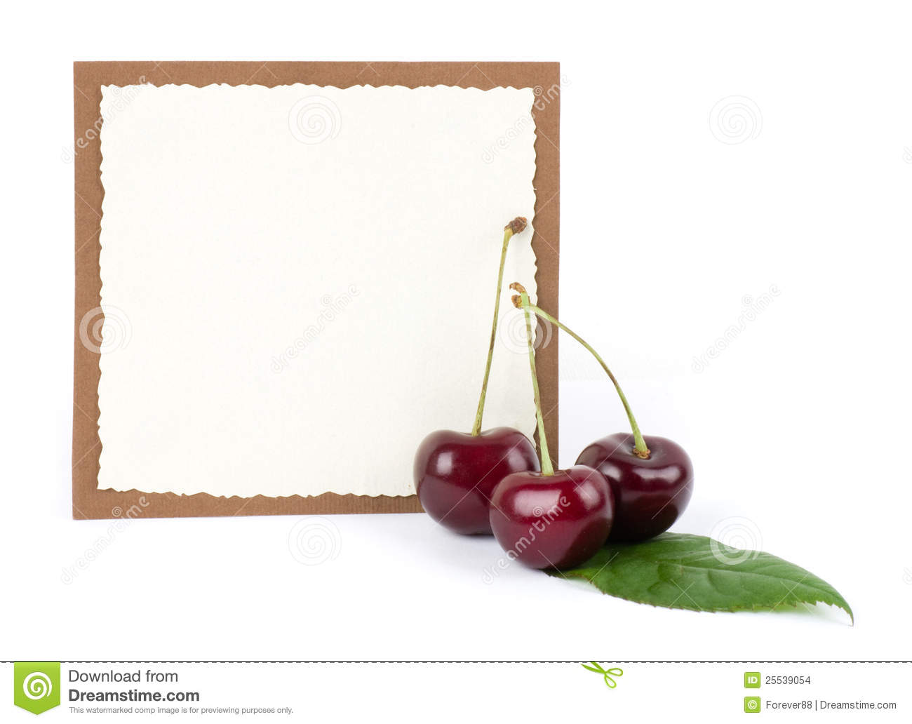Red Fresh Cherry With Banner Stock Photo - Image: 25539054