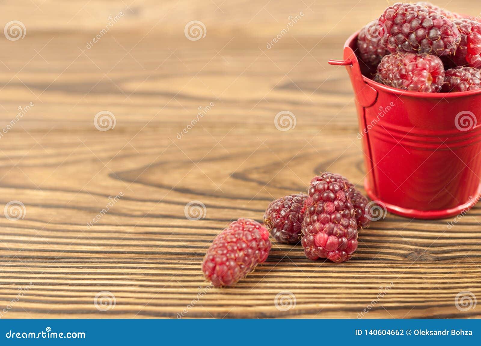 Red fresh raspberries and metal bucket