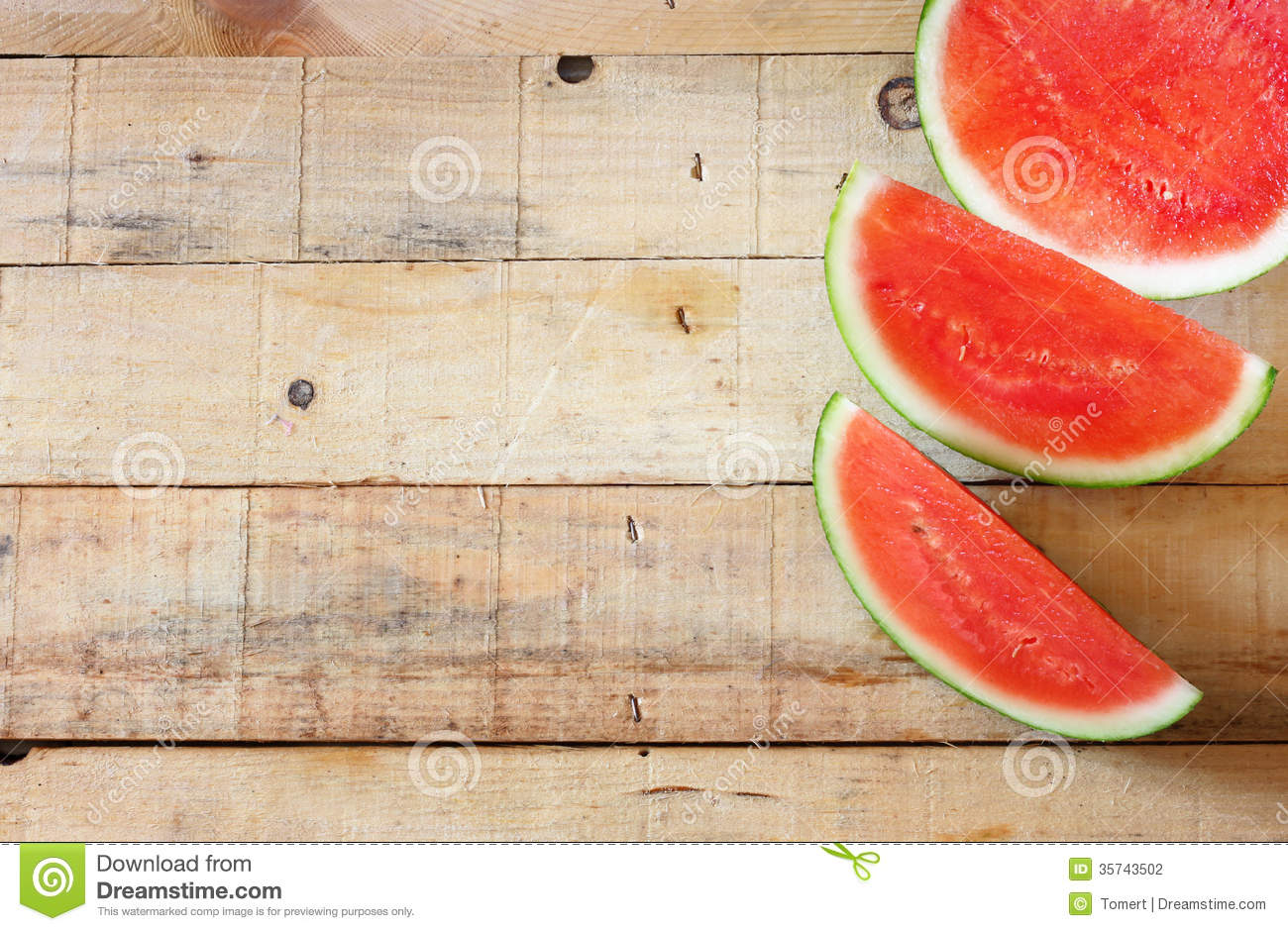 Red And Fresh Watermelon On Wooden Table Stock Photo Image Of