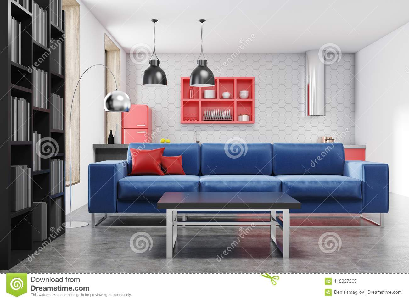 Kitchen And Living Room Blue Sofa Stock Illustration