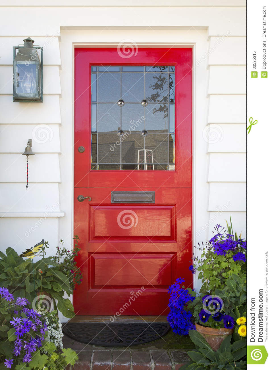 Red Front Door Of An Upscale Home Royalty Free Stock Photo - Image: 30525315