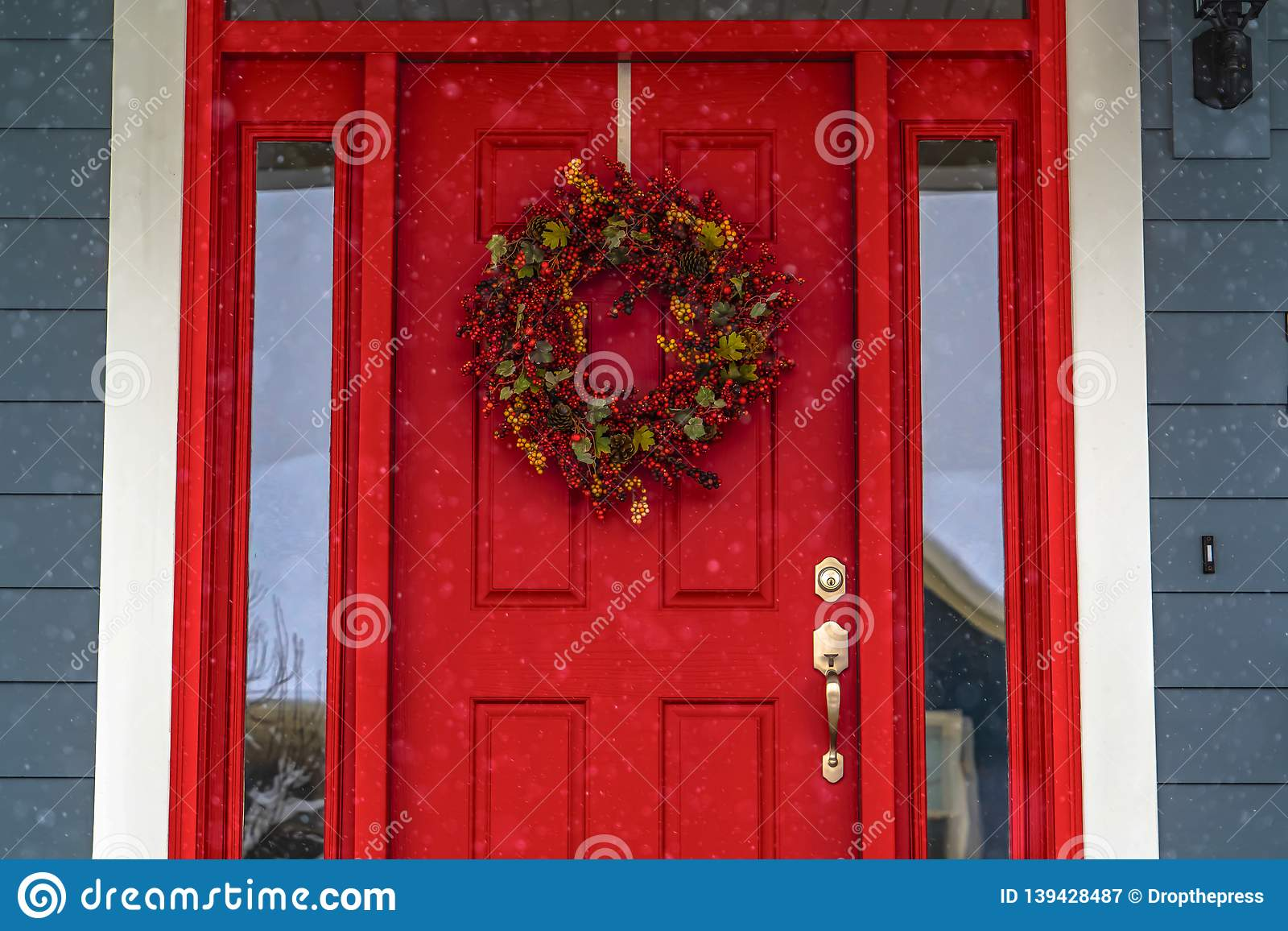Red Front Door With Wreath And Glass Panes In Utah Stock Image