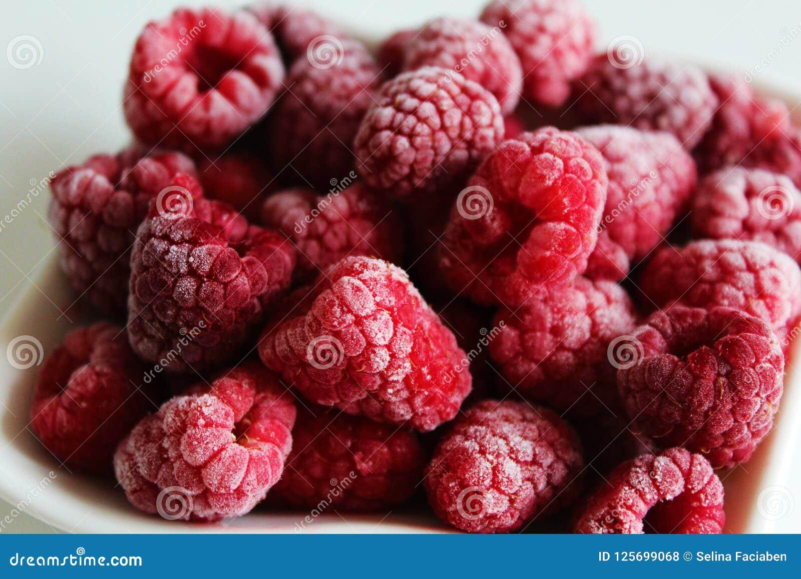 The red fruit, frozen raspberries