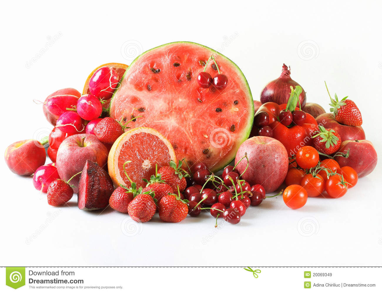 Red fruits and vegetables stock image. Image of drops ...