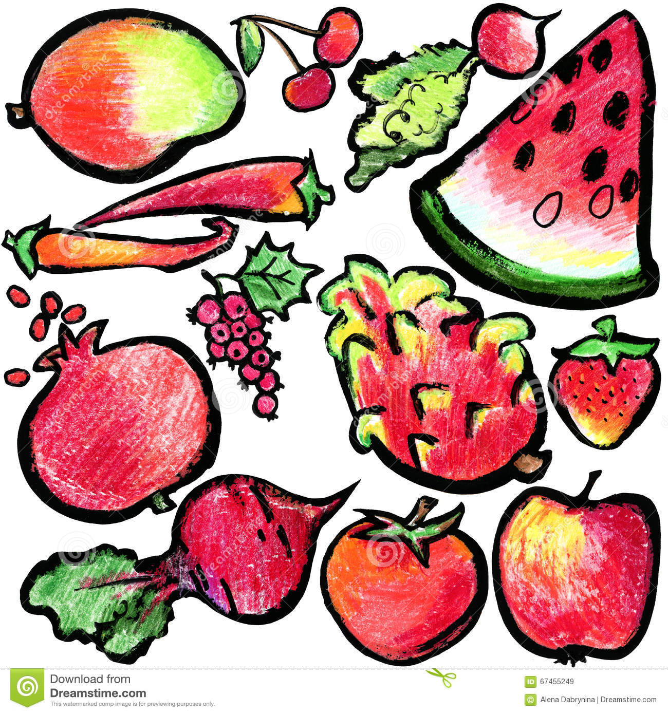Red Fruits And Vegetables. Watercolor Hand Drawn Fruits ...  Red Fruits And ...