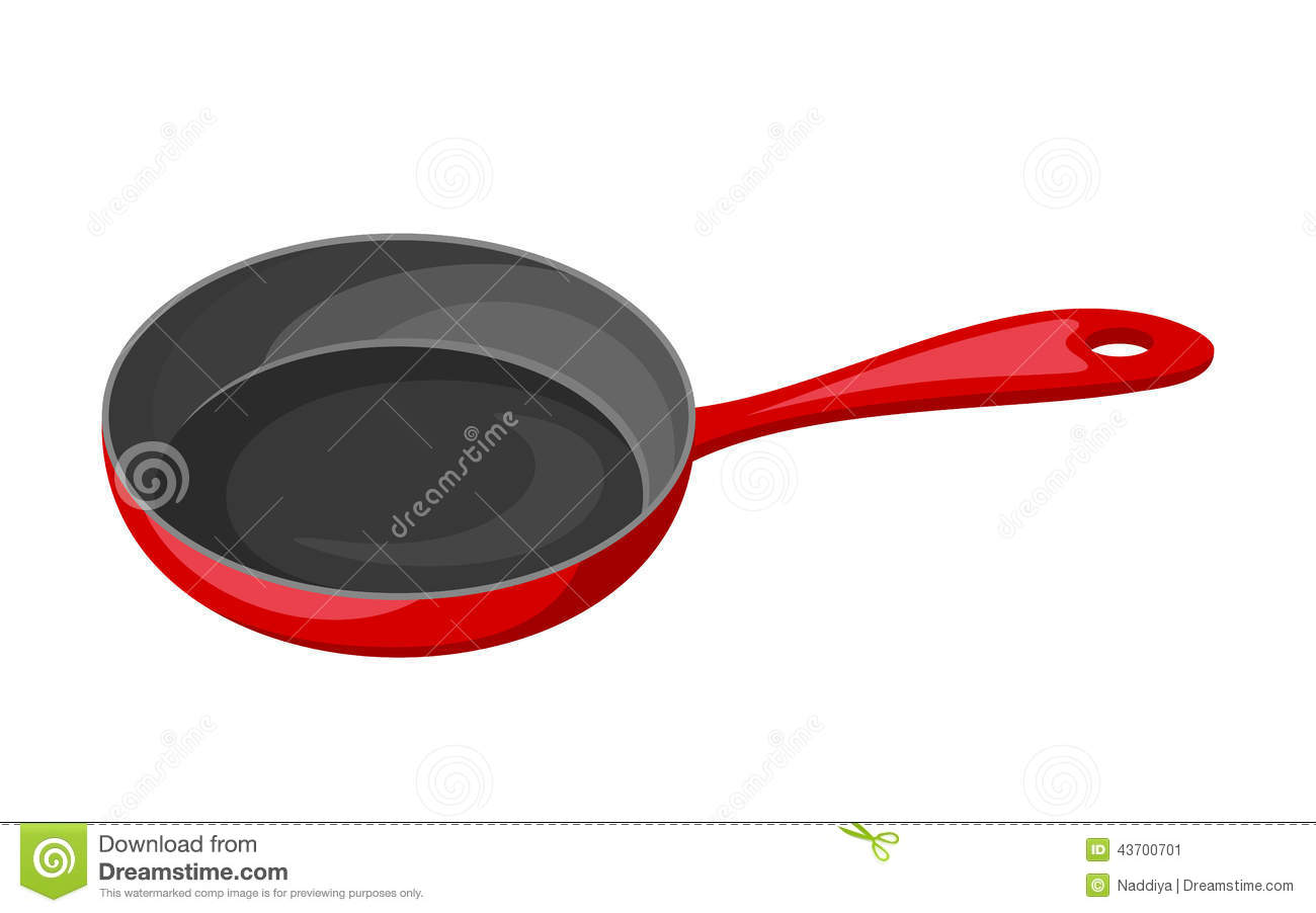 Red frying pan isolated on white. Vector illustration.