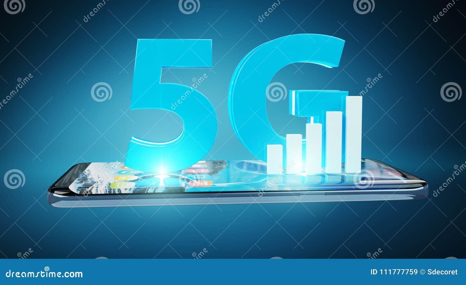 Red 5G con la representación del teléfono móvil 3D