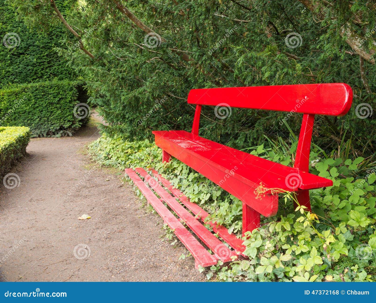 Red Garden Bench Stock Photo Image 47372168