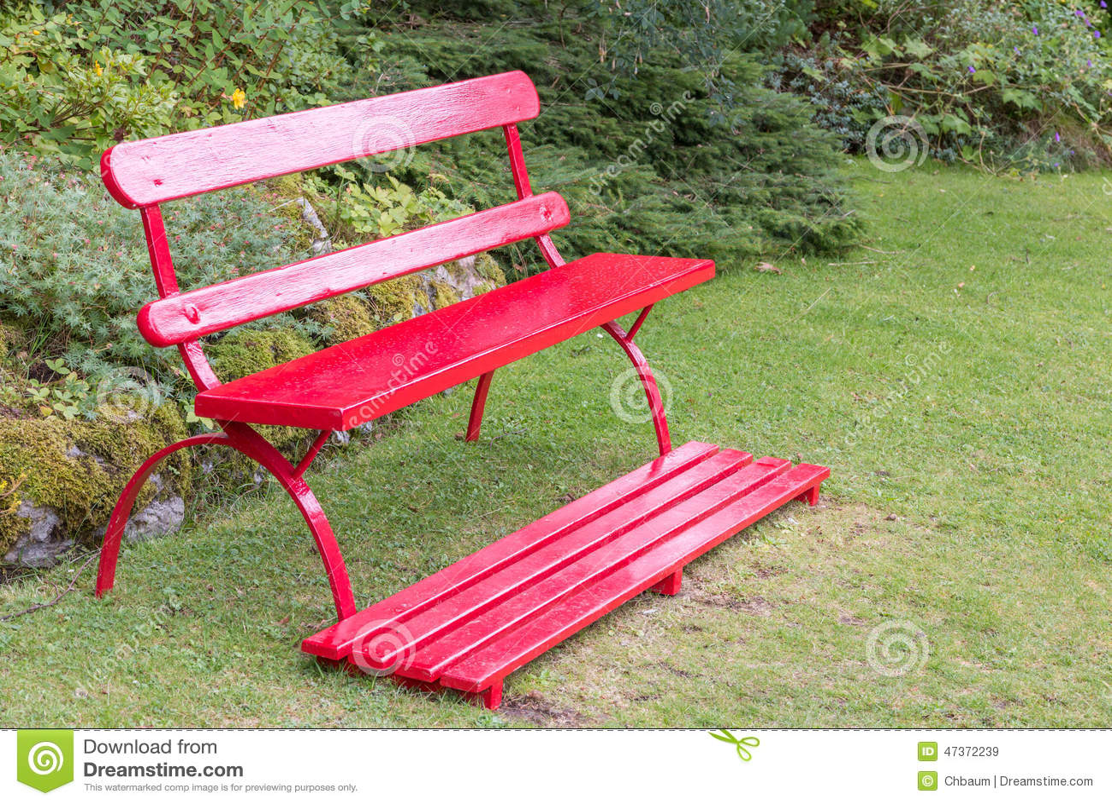 Red Garden Bench Stock Photo Image 47372239