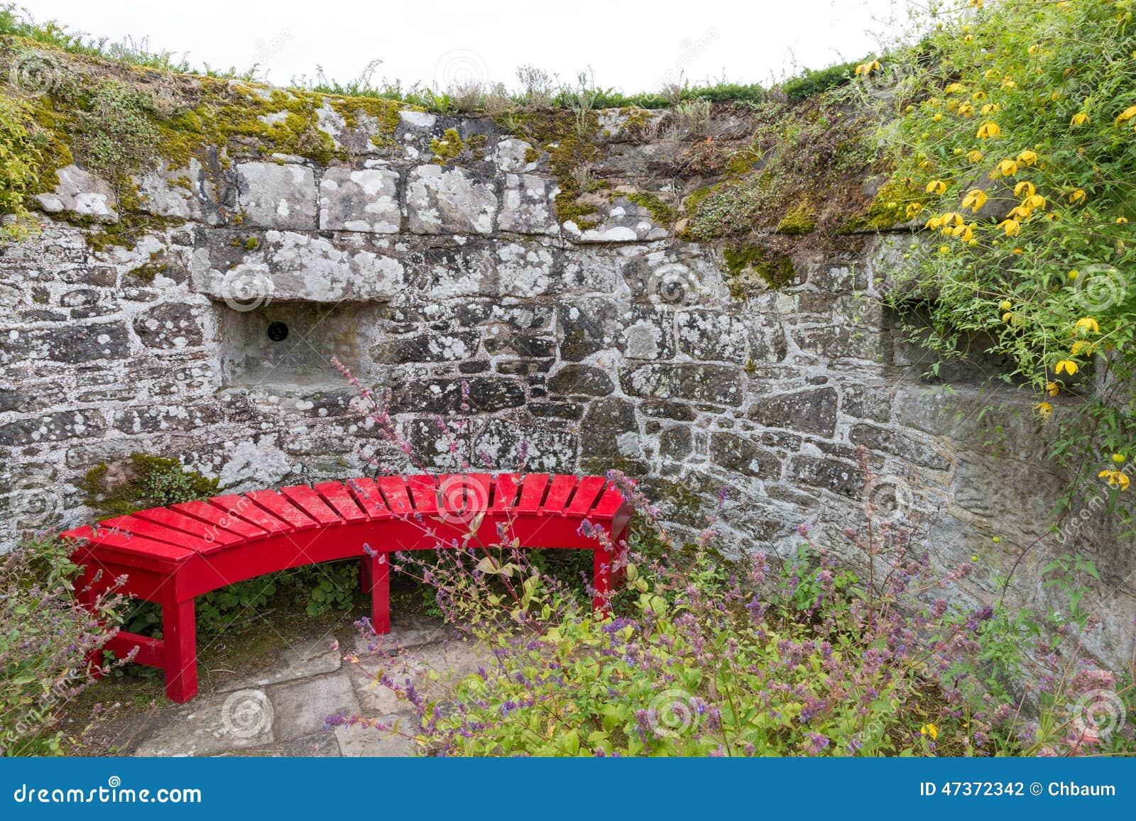 Delightful Red Garden Bench. Comfort, Lawn.