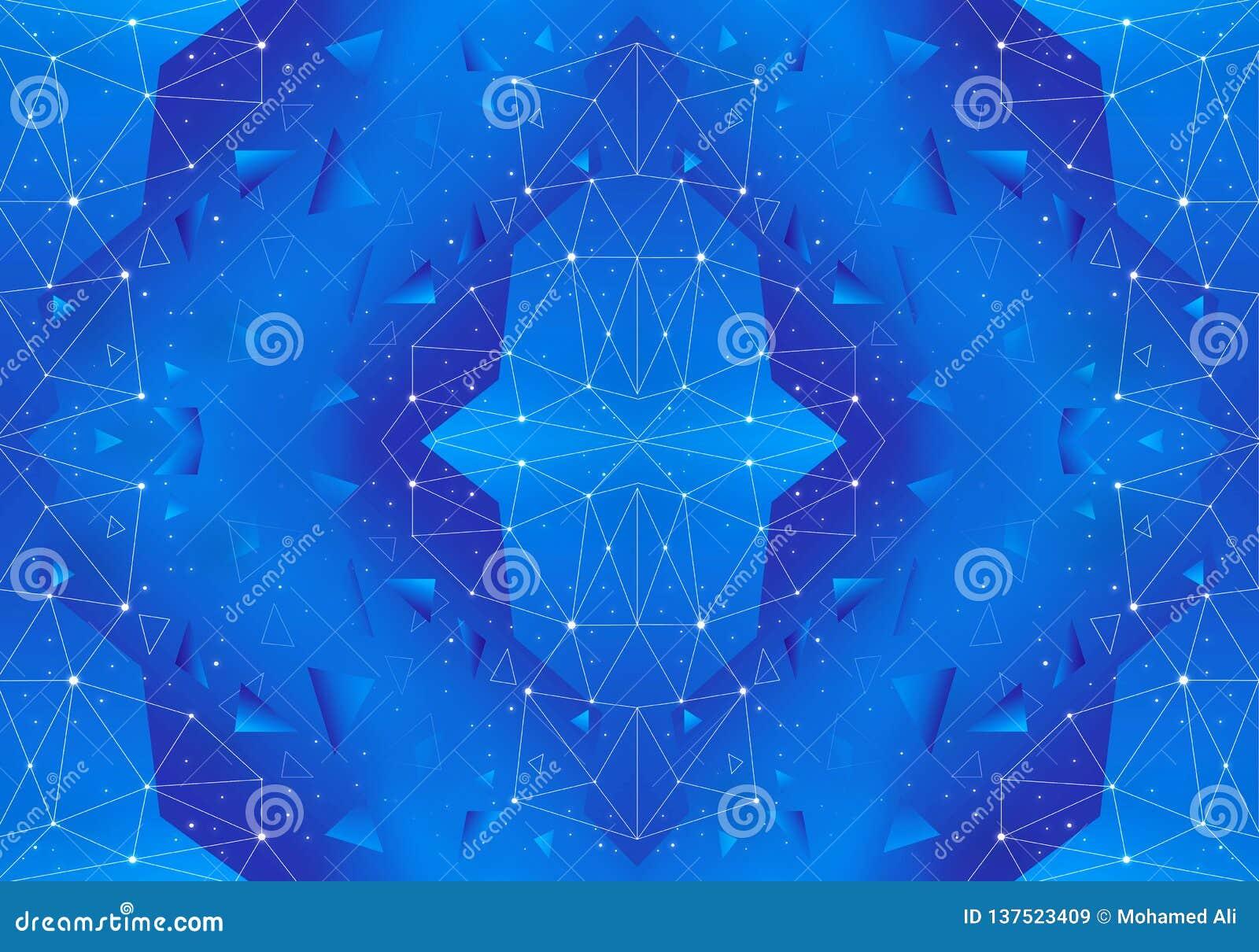 Red geométrica única del extracto artístico en un fondo azul