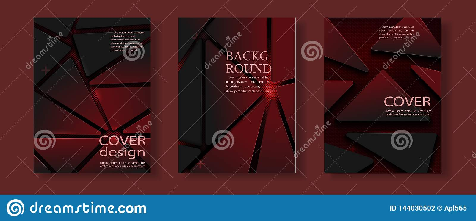 Red geometric flyer cover business brochure vector design, Leaflet advertising abstract background