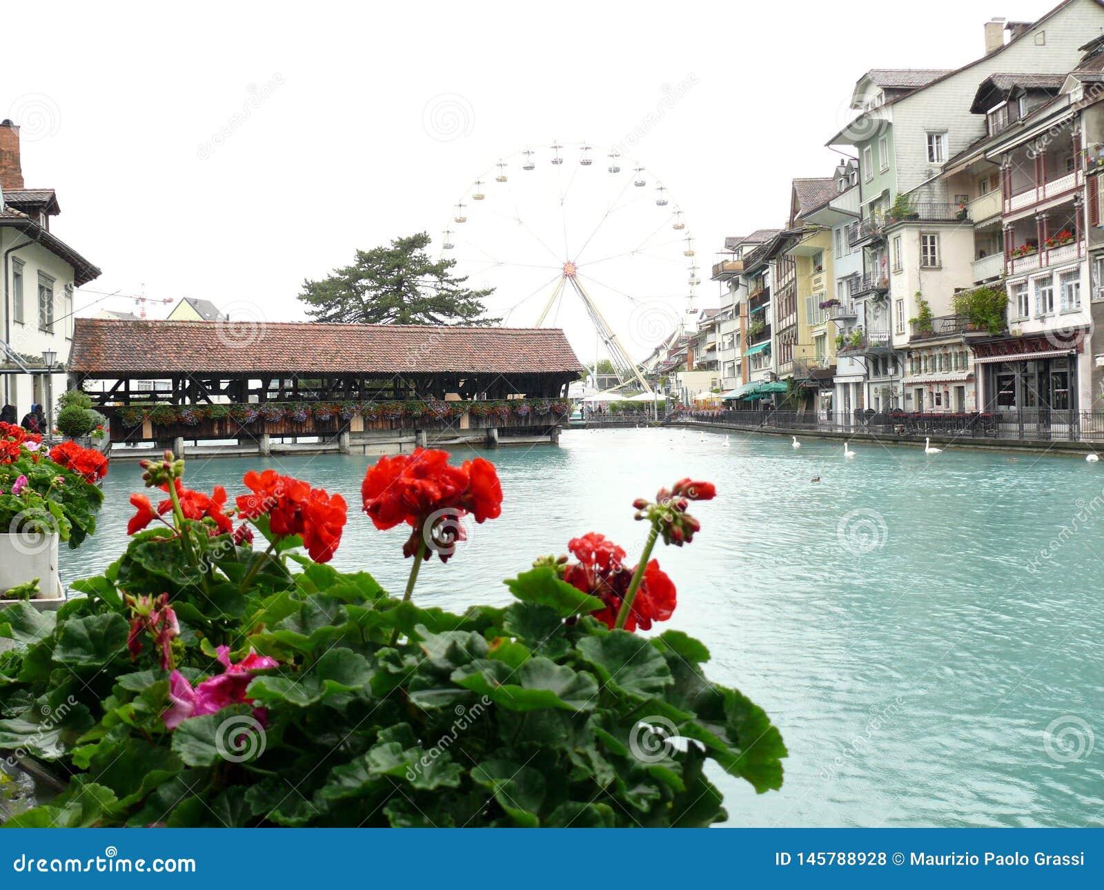 Thun, Switzerland. Portico on the river