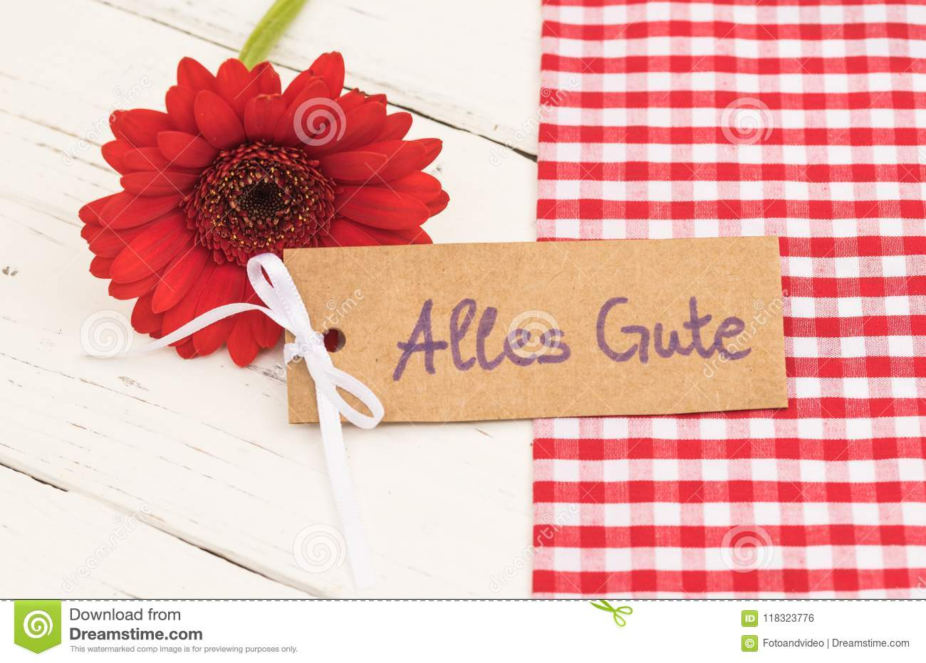 Greeting Card With German Text Alles Gute Means Best Wishes With