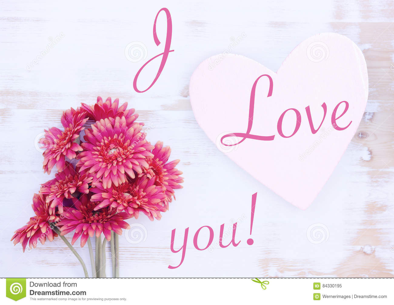 Red Gerbera And Wooden Heart With Words I Love You Stock Image