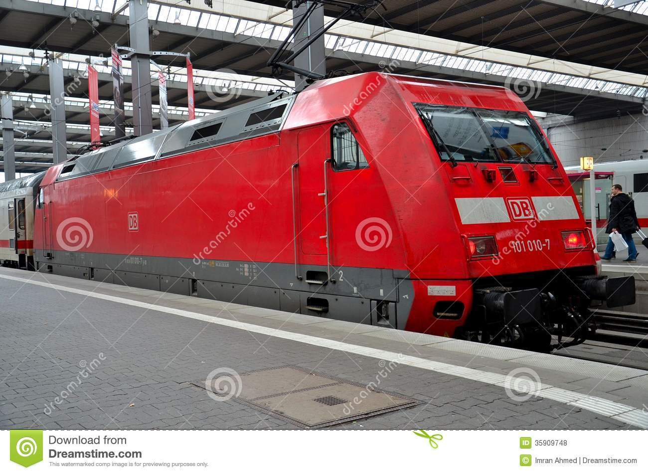a red german electric railway engine parked at munich station editorial stock photo image. Black Bedroom Furniture Sets. Home Design Ideas