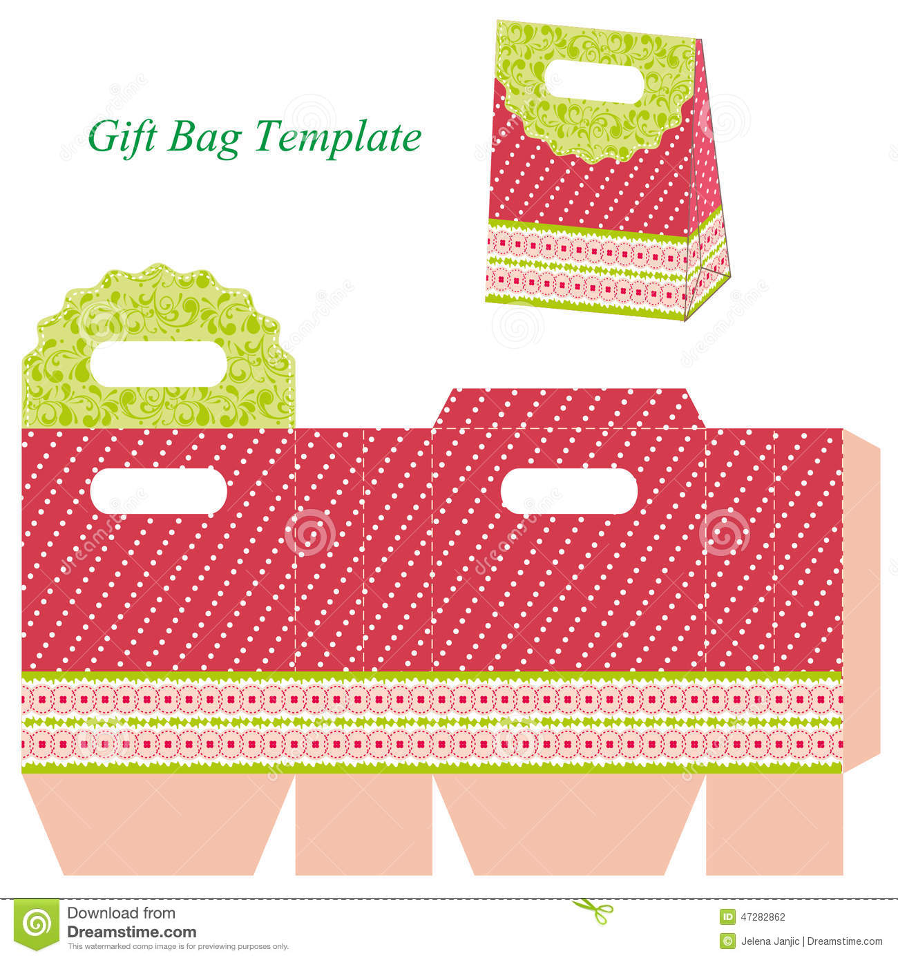 Red Gift Bag Template With Dots And Ribbon Stock Vector - Image ...